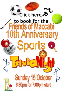 Friends of Maccabi 10th Anniversary Sports Trivia Night 15 October